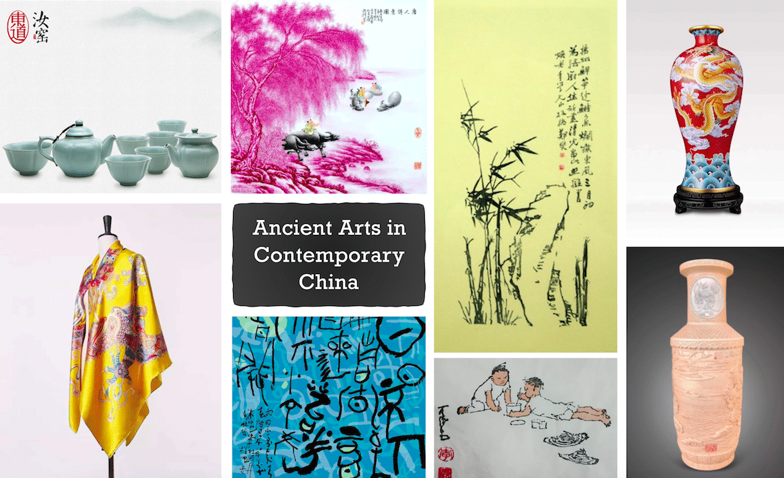 Ancient Arts in Contemporary China - wood block printing, porcelain and silk scarves
