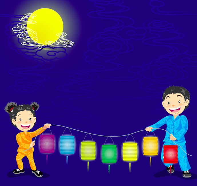 Illustration of children holding Chinese new year paper lanterns